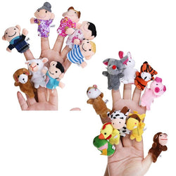 18pcs Educational Toys Finger Puppets Story Time Finger Puppets 12 Animals & 6 People Family Members Play House Accessories - DealsBlast.com