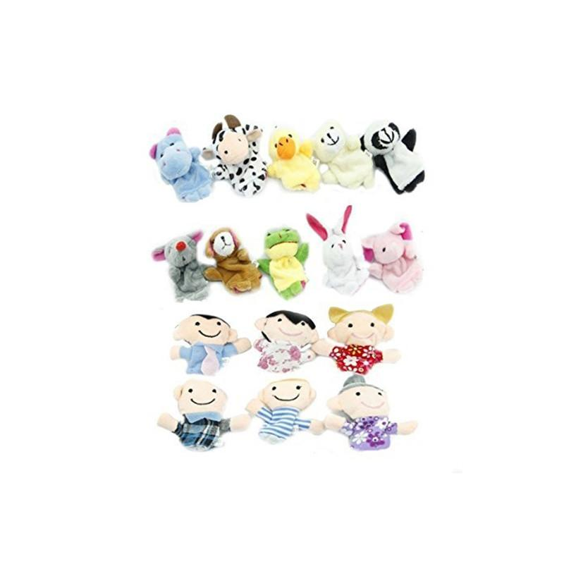 16pcs Educational Toys Finger Puppets Story Time Finger Puppets 10 Animals and 6 People Family Members Play House Accessories - DealsBlast.com