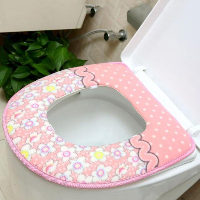 Autumn Winter Floral Thick Toilet Seat Cover Warm Cover Top Warmer Washable Bathroom Toilet - DealsBlast.com