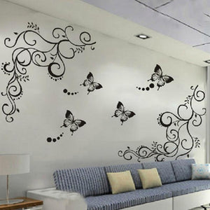 Butterfly Flowers Wall Sticker DIY Removable Wall Sticker Bedroom Livingroon Wall Decal Home Decoration Plant Poster - DealsBlast.com