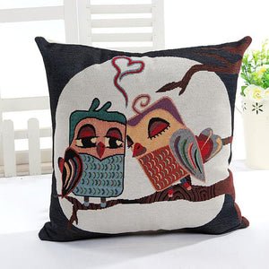 Top Quality Vintage Home Decorative Sofa Cotton Cartoon Owl Jacquard Cushion Cover Throw Pillow Case 45x45cm Size
