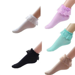 5 Pairs of Vintage Lace Cotton Ruffle Frilly Ankle Crew Socks - DealsBlast.com