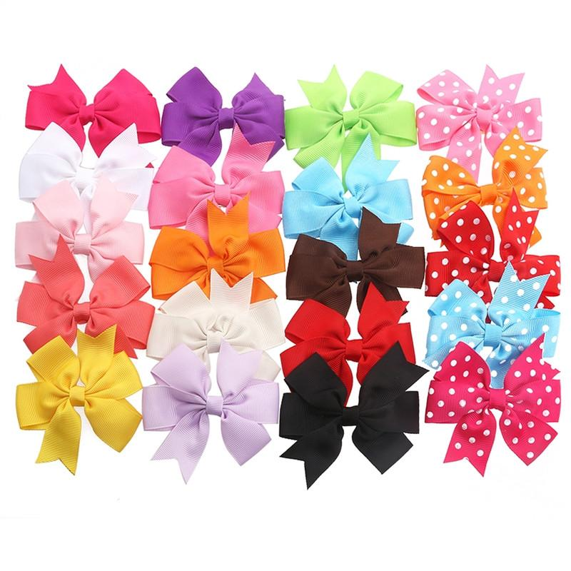 20pcs Girls Kids Alligator Clip Hair Bows Ribbon Hair Clips - 15pcs in Pure Color+5pcs with Polka Dot - DealsBlast.com
