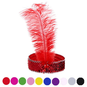 10 Colors Hair Accessories Feather Hair Band New Headband Headpiece Women Flapper Feather Headband Vintage Gatsby Party Hairband - DealsBlast.com