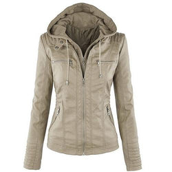 Lady Faux Leather Long Sleeve Solid Color Zipper Hooded Jacket - DealsBlast.com