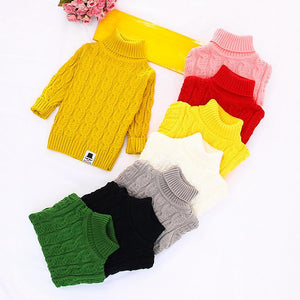 Thicken Turtleneck Kids Sweaters Boys Knitted Pullovers Outwear Draped Boys Girls Sweaters Winter Warm Knitwear Kids Clothing - DealsBlast.com