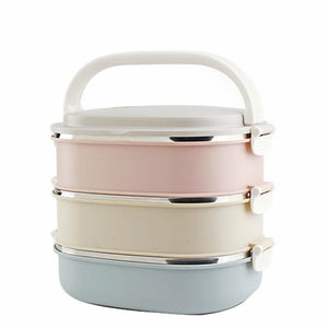 3 Layer Stainless Steel Metal Bento Lunch Boxs Japanese Food Box Insulated Lunchbox Thermal Picnic Set Food Container w/ Handle