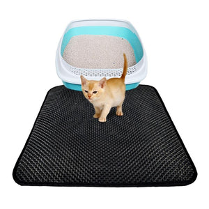 Cat Litter Mat Double-Layer Cat Litter Trapper Mats with Waterproof Bottom Layer Black - DealsBlast.com