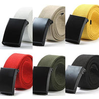 Unisex Hypo Allergic Military Casual Solid Color Plain Webbing Canvas Waist Belt Waistband - DealsBlast.com