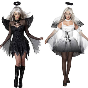 Halloween Costumes For Women Fantasy Cosplay Party Fancy Dress Adult White Black Fallen Angel Costume With Angel Wings