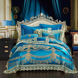 4/6/10Pcs Blue Luxury Wedding Royal Bedding Sets King/Queen Size Silk Satin Lace Duvet Cover Bed Spread sheet set Pillowcases