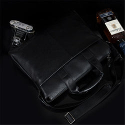 Genuine leather men briefcare brand high quality men's business handbags real leather soft men laptop messenger bag black - DealsBlast.com