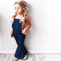Fashion Toddler Kids Baby Girl Sleeveless Backless Strap Denim Overall Romper Jumper Bell Bottom Trousers Summer Clothes - DealsBlast.com