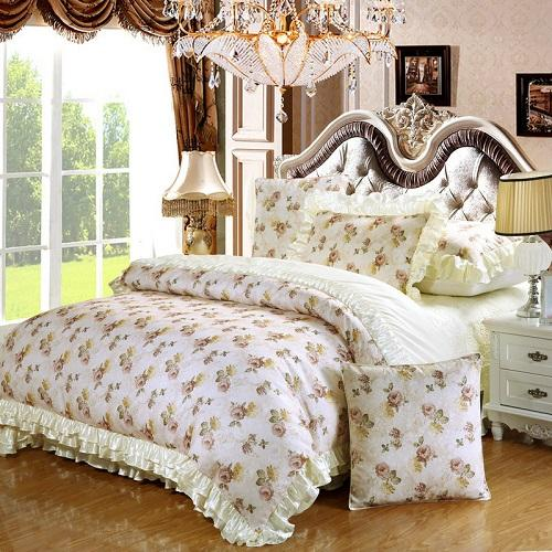 4/6Pieces Luxury Cotton Satin Wedding Bedding Set King Queen Size Thick Bed  Spread Set