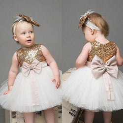 2Pcs/Set ! Princess Baby Girls Sequins Bowknot Party Wedding Gown Formal Bridesmaid Ball Gown Dress