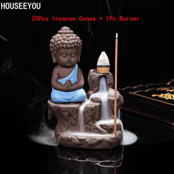 The Little Monk Buddha Ceramic Waterfall Backflow Incense Burner