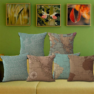 Vintage style map decorative throw pillow case retro cotton linen cushion cover for sofa home decor