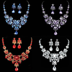 Bridal Wedding Party Jewelry Sets Crystal Rhinestone Pendant Necklace & Earrings - DealsBlast.com