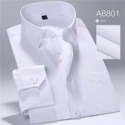 Business Men Pure Color Dress Shirt Long Sleeve Classic Fit - DealsBlast.com