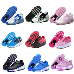 Kids LED Jazzy Heelys Junior Girls & Boys Roller Shoes Kids Sneakers With Wheels 16 colors - DealsBlast.com