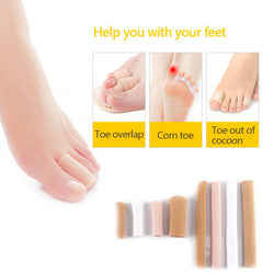 New 1pc 15cm Fabric Gel Tube Ribbed Bandage Fingers and Toes Protector Foot Hands Pain Relief Cover for Corns Feet Pedicure Tool - DealsBlast.com