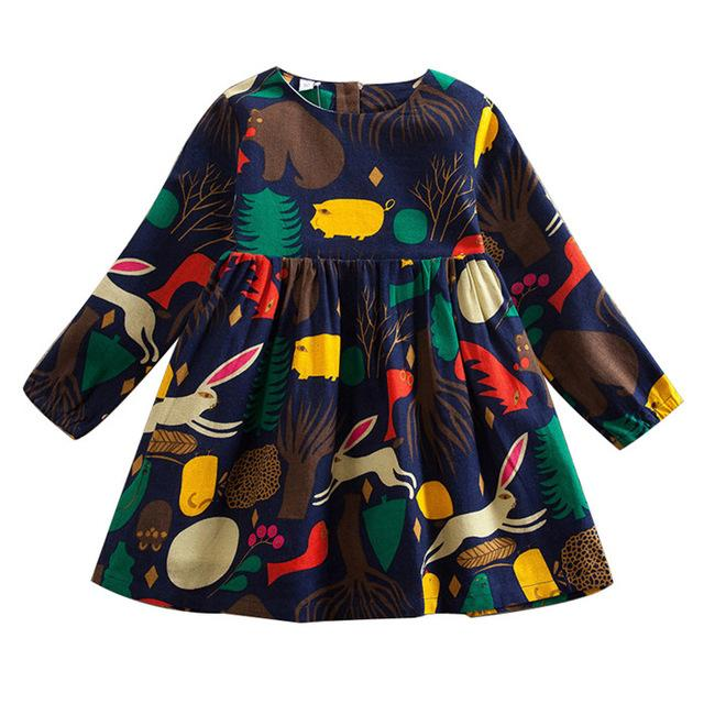 Girls Dress Autumn Cartton Animal Print Long Sleeve Girls Dresses For Kids Girls Clothes A-line Dresses Girl 3 4 5 6 7 8Y - DealsBlast.com