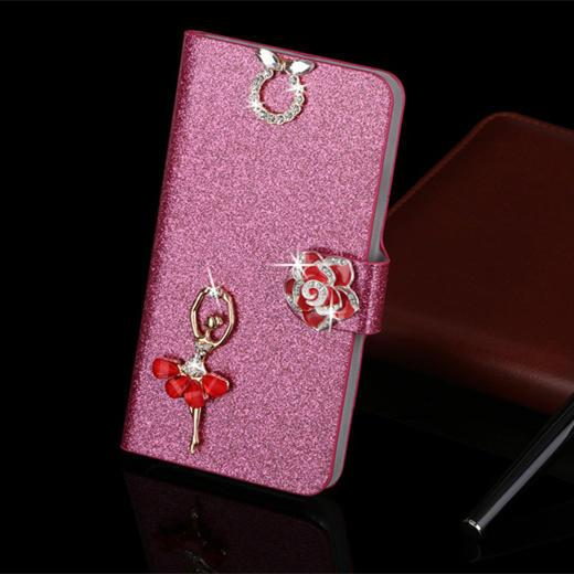 Luxury PU Leather Wallet Case For iPhone 6 Plus Flip Cover Shining Crystal Bling Case with Card Slot & Bling Diamond - DealsBlast.com