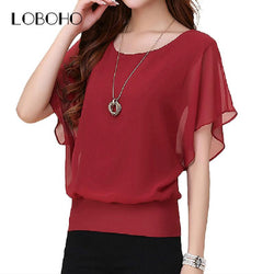 Women Summer Chiffon Tops Blouse Plus Size Ruffle Batwing Short Sleeve Casual Shirt Black White Red Blue