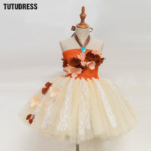 Princess Moana Tutu Dress For Girls Birthday Party Dress Up Children Lace Tulle Flower Girl Dress Kids Halloween Cosplay Costume