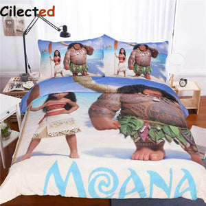 Cilected Anime Moana Bedding Set 3Pcs Ocean Cartoon Children Kids Bedclothes Movie Themed Print Duvet Cover Set