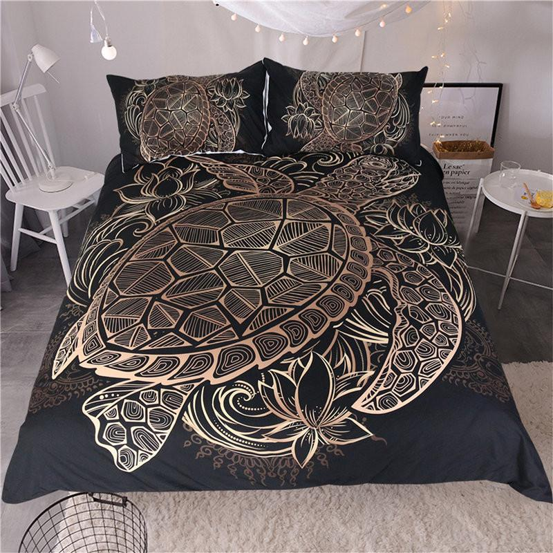 Turtles Bedding Set Animal Tortoise Duvet Bed Cover Set Flowers Lotus Home Textiles 3pcs