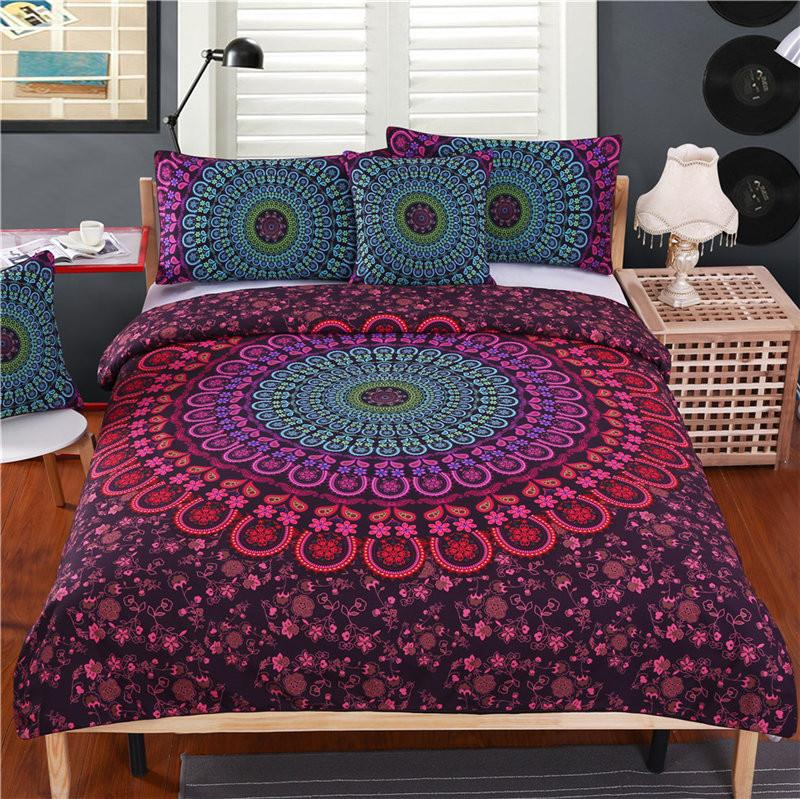 Mandala Bedding Set Queen Bedclothes Bohemian Print Duvet Cover Set with Pillowcases 4pcs Bed Set