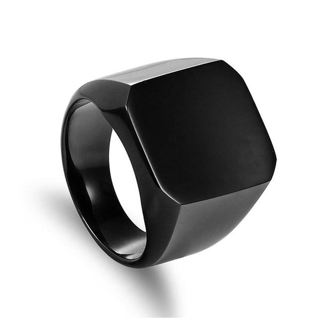 Fashion Rings Square Big Width Signet Rings 24K Titanium Steel man Finger Silver Black Gold Men Ring Jewelry anel New