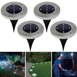 Waterproof Solar Powered LED Disk Lights Outdoor Garden Stair Lights As Seen on TV