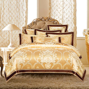 Golden Silver White Red Luxury Satin Jacquard Royal Bedding Sets Queen King size Duvet cover Cotton Bed sheets set Pillowcase