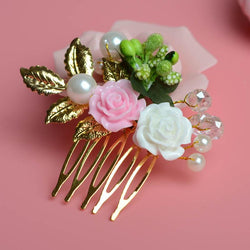 Gorgeous Golden Hair Combs Floral Pink Rose Hairpins Crystal Hair Ornaments Pearl Bridal Hair Wear Accessories Wedding Hairwear - DealsBlast.com