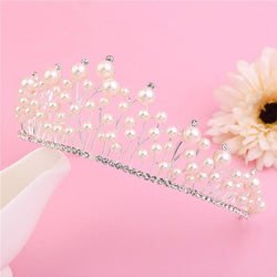 Head Jewelry Elegant Women Hairband Clear Crystal Women Tiara Bride Silver Jewelry Pearl Hair Jewelry Party Wedding Accessories - DealsBlast.com