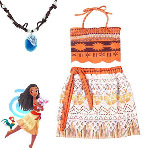 Moana Cartoon dress Kids girl princess shirt dress Moana necklace pandent cosplay costume accessary 3-9 Year