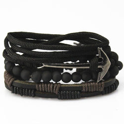 New Fashion accessory anchor Bead Leather Bracelets & bangles for Women 3/4 pcs 1 Set Multilayer Wristband Bracelet Men
