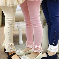 3T to 11T children girls spring fall pink blue beige lace trim ruffle rhinestone leggings kids princess cotton legging