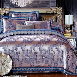 Oriental Satin Jacquard Lace Bedding sets 4Pcs Queen King size Bed set Blue Purple Bed linen sheet set Duvet cover Pillowcase