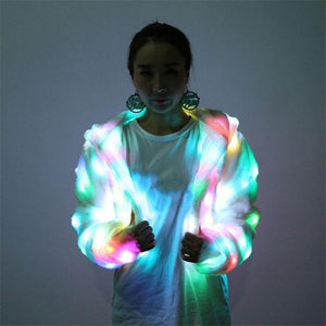 New Autumn Fashion Women Coats Multicolor LED Bright Jacket Performance Costumes Party Button Cardigan Hooded for Female Y3