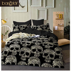 Black Color Duvet Cover Queen Size Luxury Sugar Skull Bedding Set King Size 3D Skull Beddings and Bed Sets
