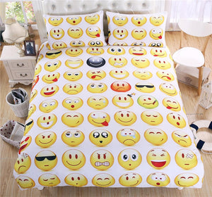 Hot Sale Funny Emoji Bedding Set Yellow QQ Face Emotion Bed Linen 3pcs Include Duvet Cover Pillowcase Twin Full Quee King Size