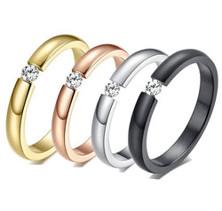 Fashion Smart Ring gold old Plated Wedding Ring Jewelry  Four Prong Stainless Steel Wedding Rings For Women And Men