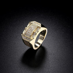 Hip Hop Size 8-11 Full Crystal Rhinestone Men Rings AAA Cubic Zirconia Gold Silver Plated  Luxury Male Jewelry