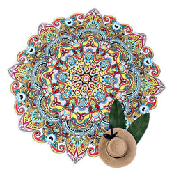 Mandala Beach Towel Yoga Mat Wall Hanging Tapestry Polyester Diameter 145cm