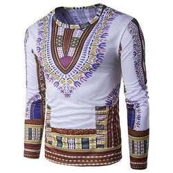 New Designer Men Traditional Thailand Style African Print Long Sleeve T-Shirt Tops M-2XL Plus Size High Quality