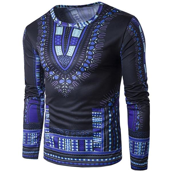 New Designer Mens Fashion Traditional Thailand Style African Print Long Sleeve T-Shirt Blouse Tops M-2XL Plus Size