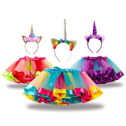 Fashion Sweet Toddler Kids Baby Girls Clothes Tutu Skirt Outfits Unicorn Cute Children Tulle Skirt + headband Rainbow Skirt
